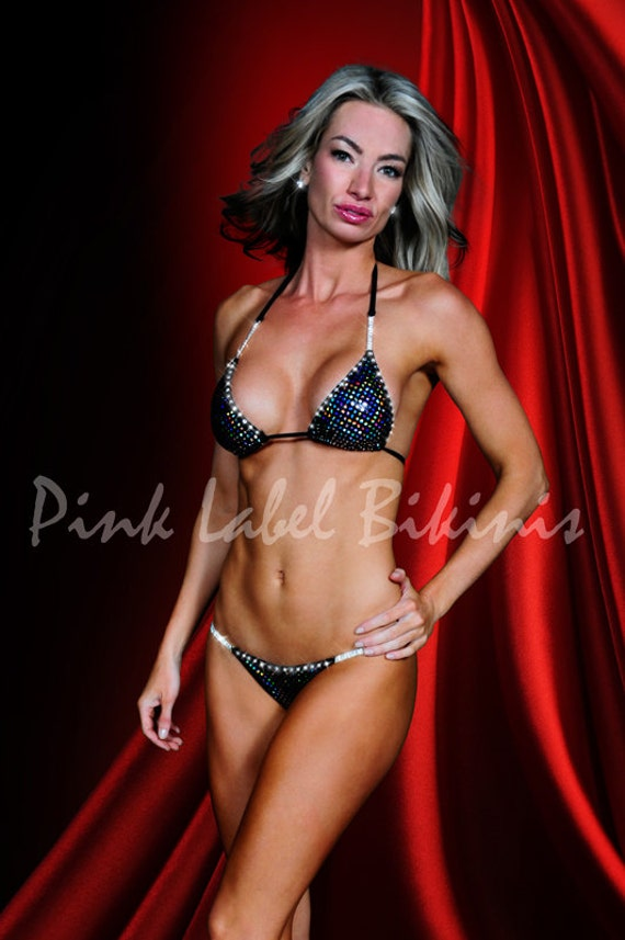 Black Crystal Competition Bikini Swimsuit for Contests & Pageants Fitness NPC IFBB Posing Suit