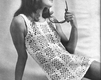 Crochet Top Pattern, Tunic, 1970s, vintage, pdf pattern
