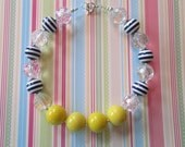 "Chunky Bubblegum Bead Necklace, ""Nautical Girl"", Yellow, Navy, Toddler, Girls, Birthday, Photo-Prop, Gift, Birthday"
