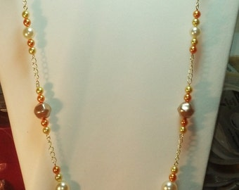 Gold Glass Pearl with Gold Chain