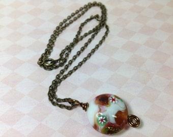 Lampwork Bead Pendant Necklace, Antique Brass Chain