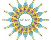 Buckfast Kaleidoscope Birthday Card - Funny Scottish Illustration Greetings Card Scotland