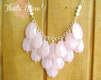 Blush pink bib statement necklace, Blush pink statement necklace