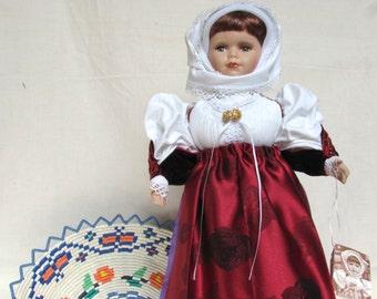 Traditional Costume Doll Adelasia - Sardinian Bride (Red Fardita)