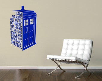Dr Who's Tardis Decal Quote - Police Call Box Quote Sticker / Wall Art 13.5 x 23