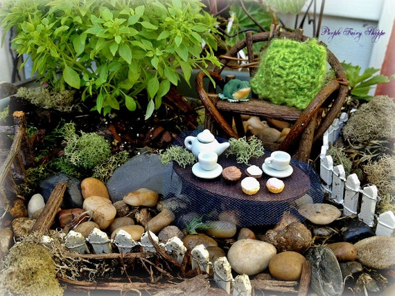 items similar to fairy garden miniature tea set fairy garden miniature fairy garden fairy. Black Bedroom Furniture Sets. Home Design Ideas