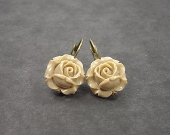 Earrings  rose Café au lait