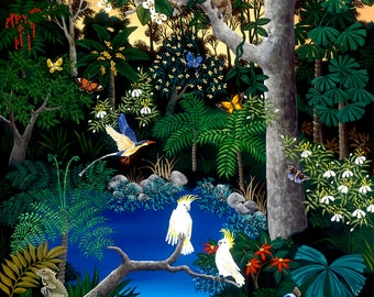 RAINFOREST WILDLIFE SCENE, Large Scale Art Print