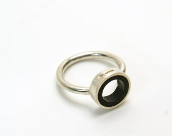 Black Coal Aurora Sterling Silver and Butyrate Plastic circle Ring