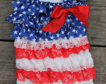 Fourth of July Romper, Petti Romper, infant, toddler, Fourth of July outfit, Flag Romper,