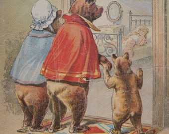 SALE Vintage/Antique The Three Bears 1910s Linen Book by McLoughlin Bros.