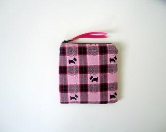 Scottie Dog Zipper Pouch, Cosmetic Bag, Pink Plaid