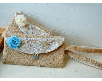burlap purse bag lace wedding wristlet clutch rustic rose shabby flower color choice Personalize Bridesmaid party gift MakeUp