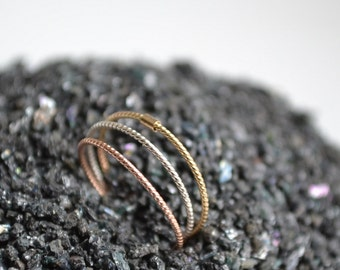 14k Solid Gold and Silver stacking rings - Three Stacking Ring Set, wedding bands
