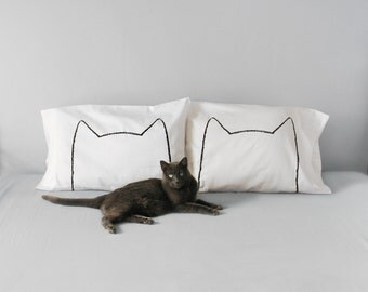 Catnap Pillow Cases Set of 2 - Mothers day gift for women - gift for he - cat lover gift, cat ears couples gift cotton pillowcases, cat lady