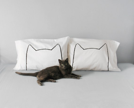 Catnap Pillow Cases, gift for women, gift for her, unique dorm decor, gift for cat person, cat ears couples gift, bed pillow cases, cat lady