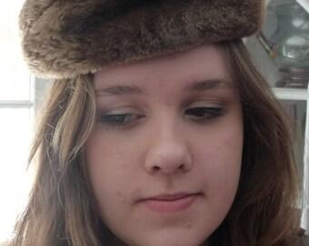Vintage Sheared Beaver Fur Beret - Womens Brown Fur Hat - Peck & Peck NYC - Classic Chapeau Ladies Warm Winter Hat - Retro Mid Century 1950s