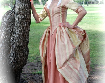 Marie Antoinette Gown • 18th century colonial rococo polonaise dress in REAL silk 1770 - 1780 Made to order