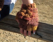 Crochet Half Finger Gloves /Steampunk Accesory/ Autumnal Colorway