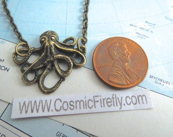 Tiny Octopus Necklace Miniature Brass Octopus Small Size Petite Steampunk Necklace Girl's Necklace
