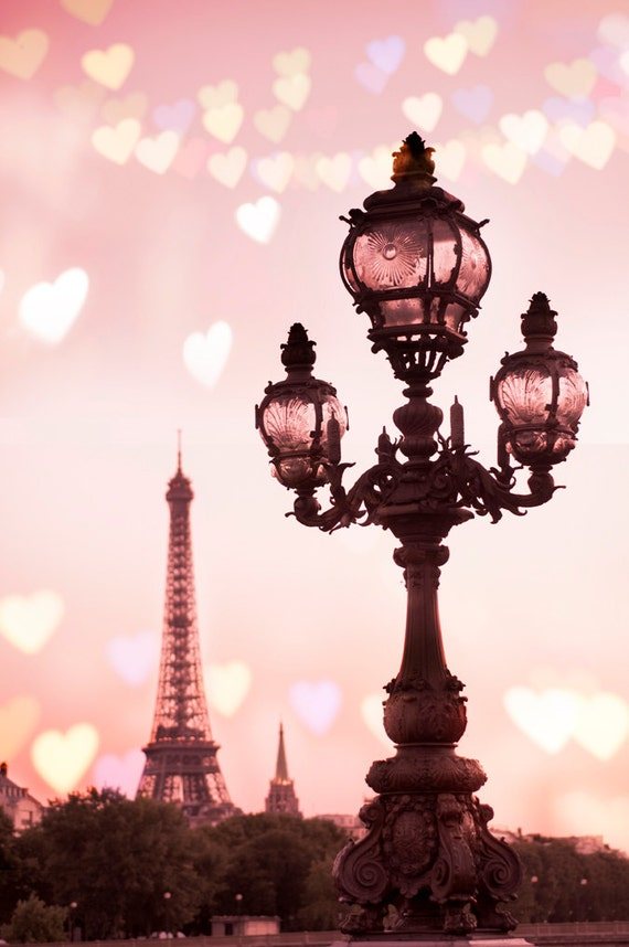 Paris Photography - Valentines Day, A Paris Valentine, Hearts with Eiffel Tower, Romantic French Travel Decor, Large Wall Art
