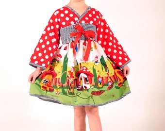 Happy Gnomeville Kimono Dress, Girl Dresses, Children Clothing, Toddler dress, Polka Dot, Red dress, Size 2 3 4 5 6 7 8, Red