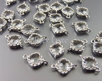 4 Small clear diamond shape faceted glass connectors for linking earrings bracelet necklaces 5061R-CL (bright silver, clear, 4 pieces)