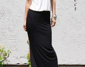 Sample Sale / V Neck Side Slit Maxi Dress- Cream and Black