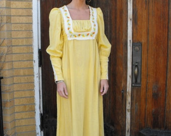 Yellow Prairie Dress 70s Floral Boho Country Gunne Sax Style Vintage S