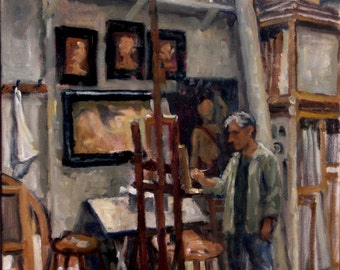 In Eric's Studio, Union Square NYC. 20x16 Oil on Canvas, Large American Realist Oil Painting, Strip Framed Studio Interior, Signed Original