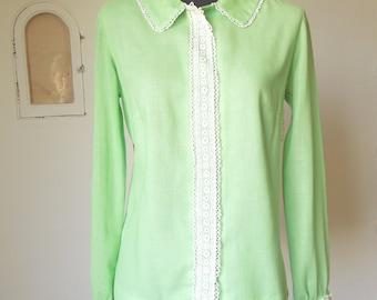 SALE...Vintage 60's Shirt, Mint Green with Cream LACE Trim, Size Medium, Bust 37
