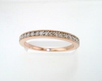 14K Rose Gold Diamond Wedding Band, Pave Anniversary Ring  0.18 Carat Handmade