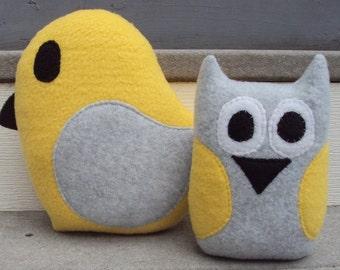 Yellow Gray Owl Bird Gift Set- Yellow Grey Owl and Bird - Owl and Bird Plushies - Owl and Bird Gift Set
