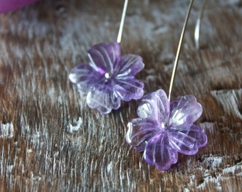 Amethyst Flower, Sterling Silver, Chandelier, Drop Earrings... Bridal, Bridesmaid... Violet... Bloom...
