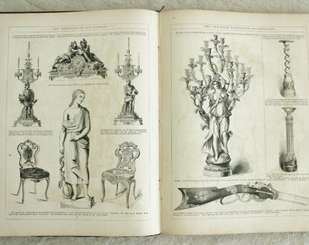 Amazing Victorian Graphic Design Book Antique The World of Science Art and Industry Illustrated 1854