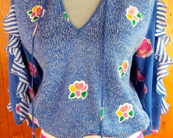 80s DIANE FREIS--Beautiful Knit Top--Flamenco Sleeves--Roses--Tassels--Stripes--Blue and Pink