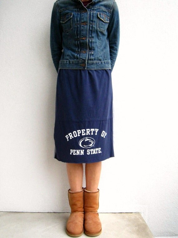 Penn State T Shirt Skirt / Nittany Lions / Navy Blue Gray / Eco Friendly / Knee Length / Drawstring / Recycled / Cotton / Soft / by ohzie