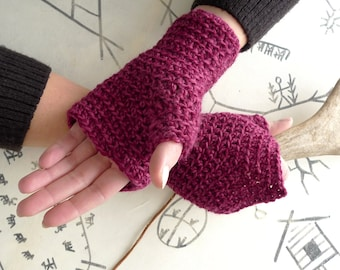 Fingerless Crochet Mittens, Fingerless Gloves, Fairy Pixie Mittens - Burgundy Wool Mitts - Driving Gloves, Spring Accessories, Psytrance
