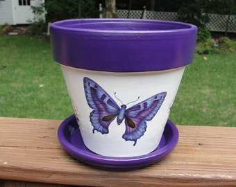 Butterfly Terra Cotta Flower Pot