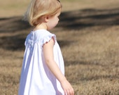 Girls Monogrammed White Pique Dress with angle Sleeves --- Perfect for a Wedding or Beach photos