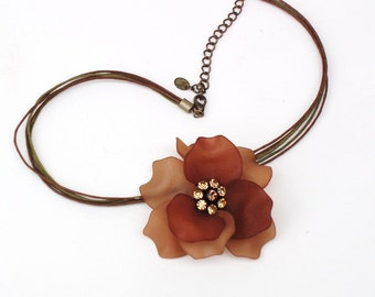 Vintage Rose Necklace / Flower Necklace / Crystal Choker / Brown Jewelry