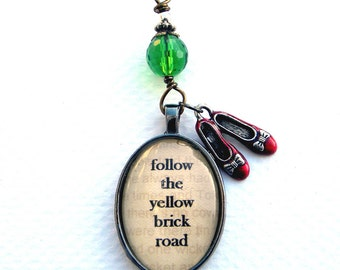 Oz Necklace, Oz Jewelry, WIZARD of OZ  Necklace  Dorothy Shoes, Yellow Brick Road