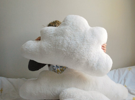 White Fluffy Cloud Pillow One Large Puffy Cloud For A