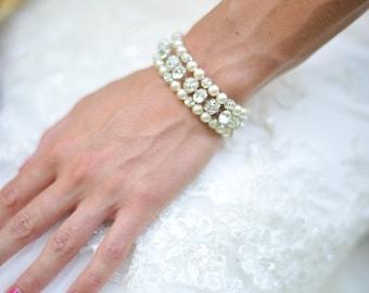 Three Strand Pearl Bride Bracelet, Pearl Cuff Bracelet, Pearl Bridal Jewelry, Bride Bracelet, Pearl Wedding Bracelet, Bride Pearl Jewelry
