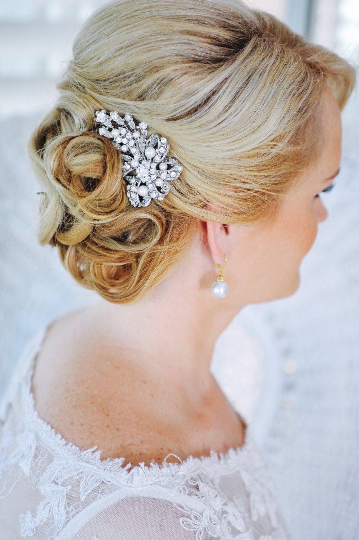 crystal bridal hair comb swarovski pearl hair comb vintage