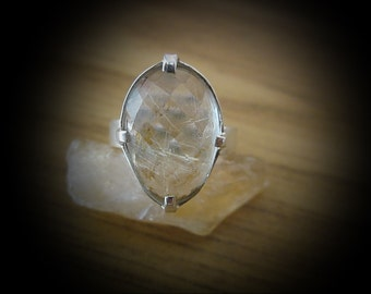 Authentic Gold Rutiles RUTILATED QUARTZ Jeweled in 925 Sterling Silver (Stamped) Ring - Size 6-3/4