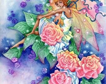 "Fairy Art Print, Fantasy Faerie Print ""Sweet Flora"", Fairy Illustration"