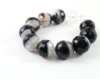 Chunky stone bracelet, druzy bracelet, black and white agate bracelet, gemstone jewelry, chunky bracelet