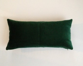 Hunter Green Decorative Bolster Pillow Cover 10x20 to 12x24  Medium Weight Cotton Velvet - Knife Or Pipping Edge