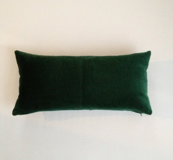10x20 to 12x24 Hunter Green Decorative Bolster Pillow Cover-15 COLOR CHOICES -Medium Weight Cotton Velvet - Knife Or Pipping Edge
